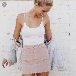 Brandy Melville pink corduroy Juliette skirt